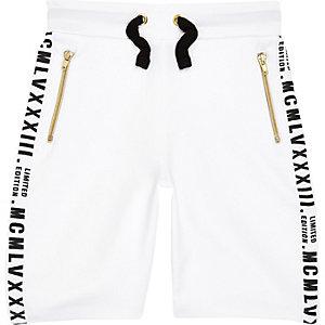 Witte shorts met toelopende zijden voor jongens