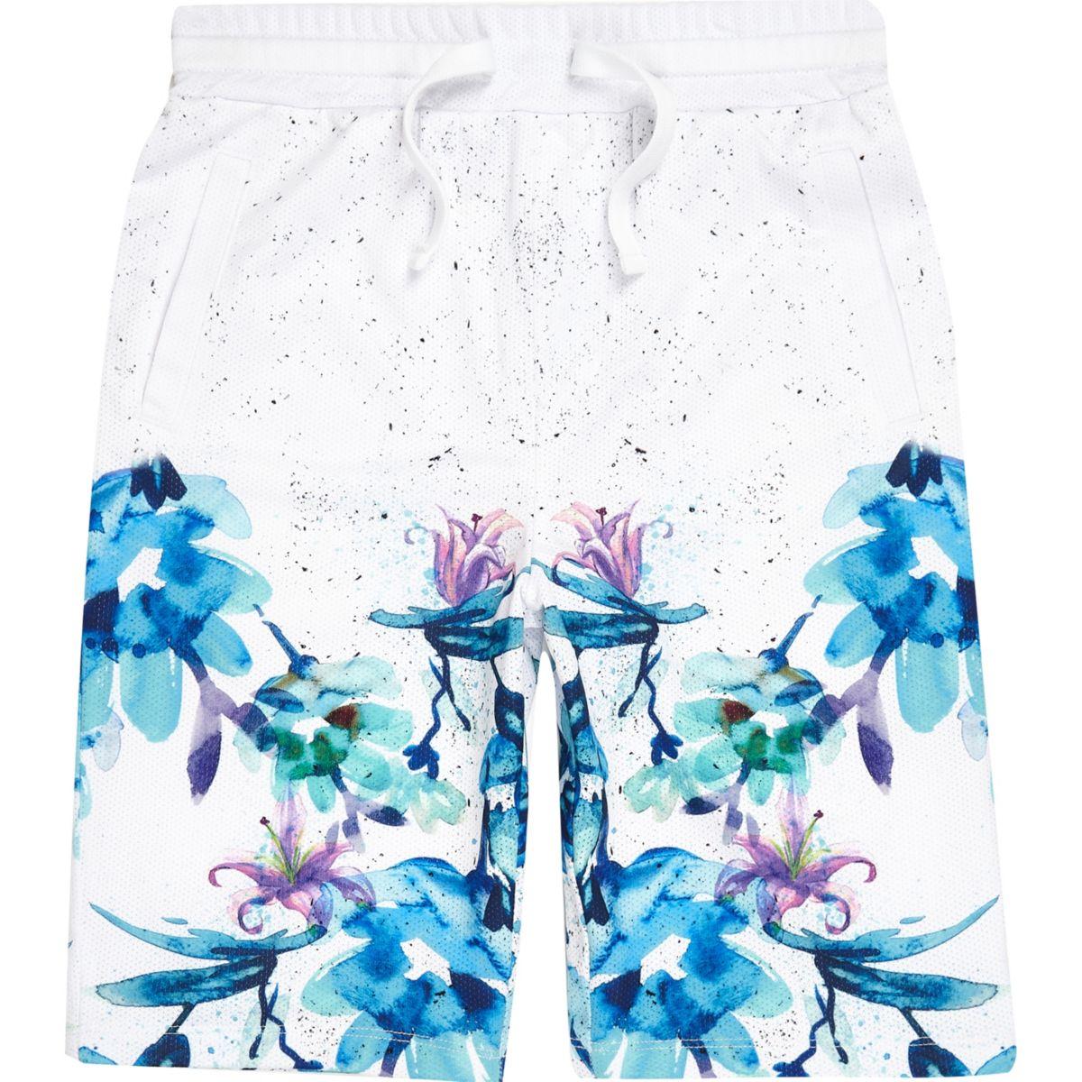 Boys white floral fade mesh shorts
