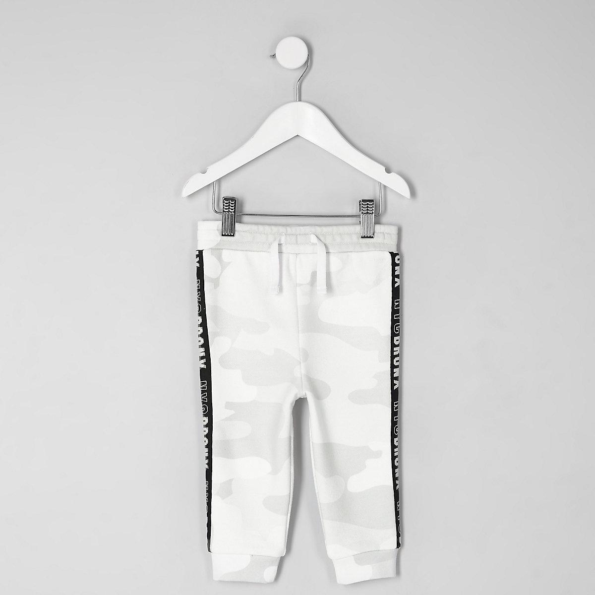 Mini boys white camo side tape joggers