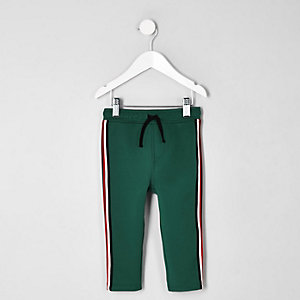 Mini boys dark green tape tracksuit bottoms