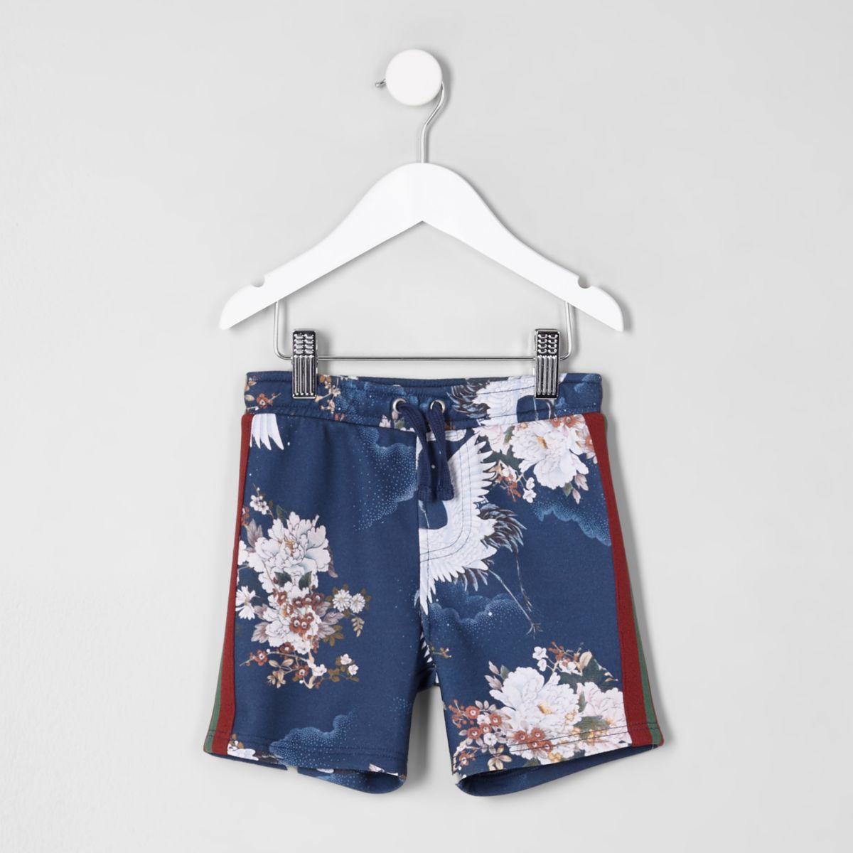 Mini boys blue crane tape side shorts