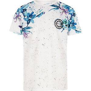 Wit T-shirt met bloemenprint, mesh en kleurverloop voor jongens
