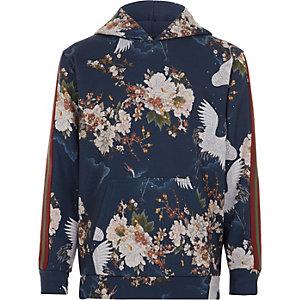 Blauwe hoodie met kraanvogelprint en streep op de mouwen voor jongens