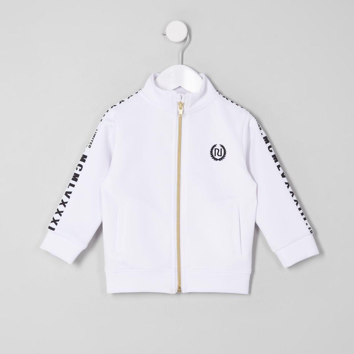 Mini boys white tape track jacket