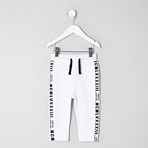 Mini boys white tape tracksuit bottoms