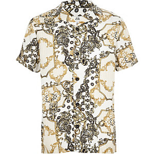 Boys yellow chain print shirt