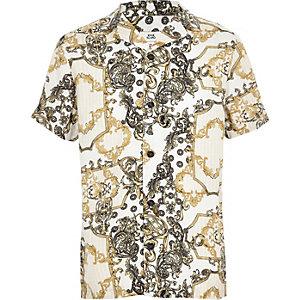 Geel overhemd met kettingprint voor jongens