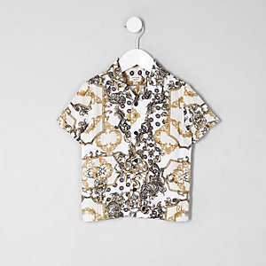 Mini boys yellow chain print shirt