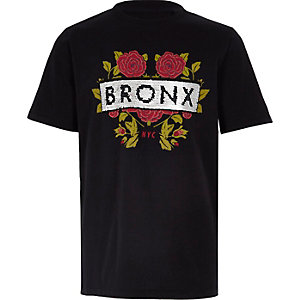 Boys black 'bronx' sequin embellished T-shirt