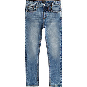 Boys light blue distressed Sid skinny jeans