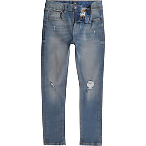 Boys blue wash Sid ripped skinny jeans