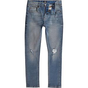 Sid - Blauwe wash ripped skinny jeans voor jongens