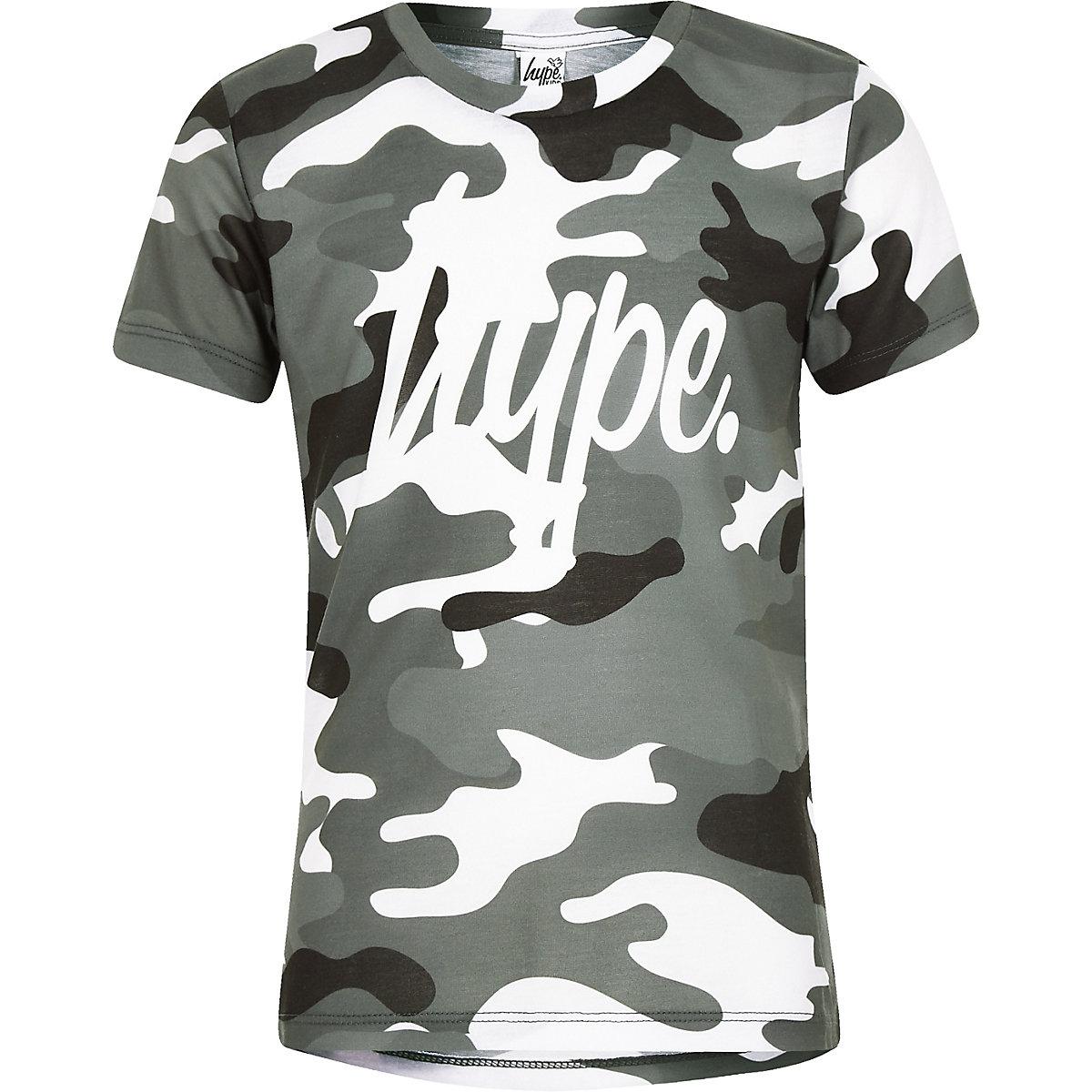 Boys Hype grey camo T-shirt