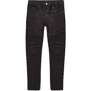 Sid - Zwarte gecoate skinny bikerjeans voor jongens