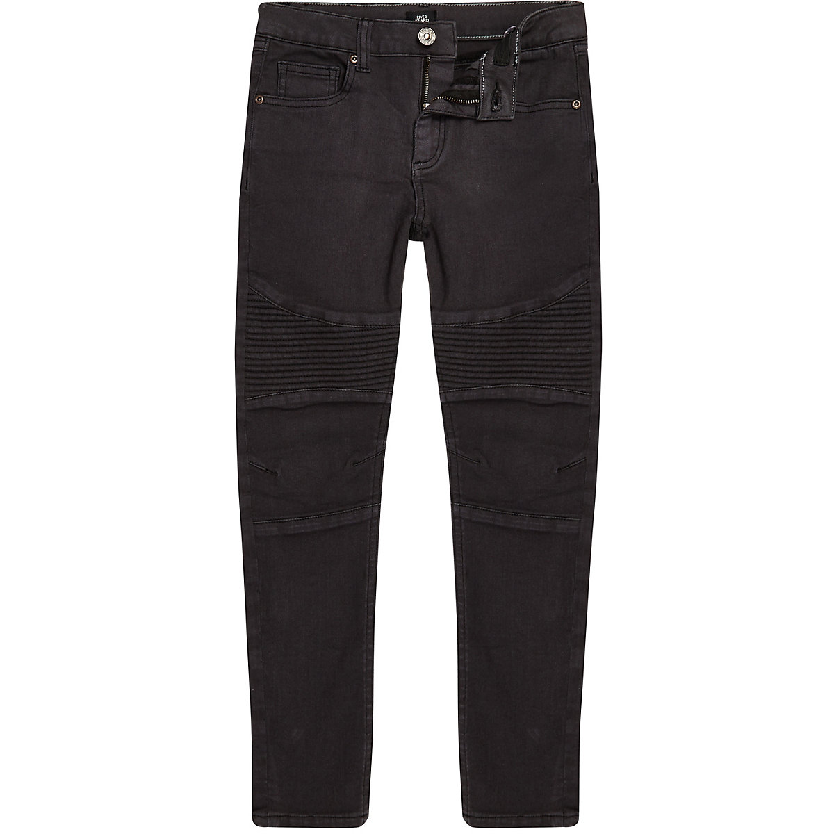 Boys black coated Sid skinny biker jeans