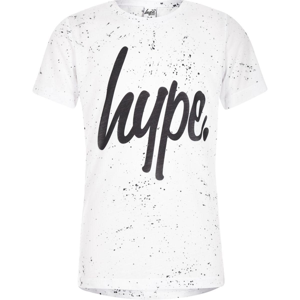 Boys Hype white speckle print T-shirt