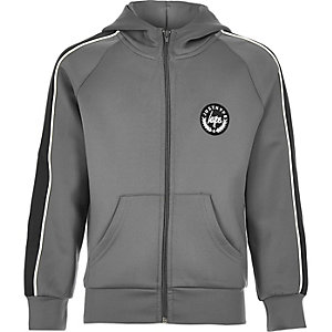 Boys Hype grey zip front track top