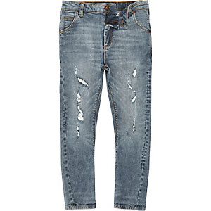 Tony - MIddenblauwe wash ripped slouch-fit jeans voor jongens