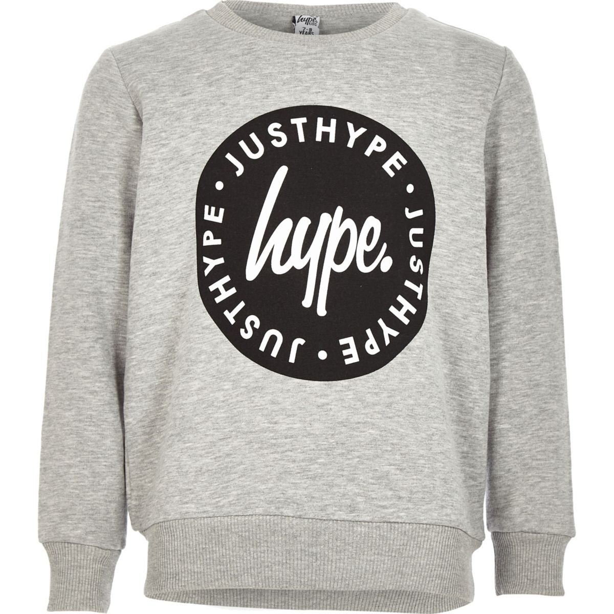 Boys Hype grey crew neck sweatshirt