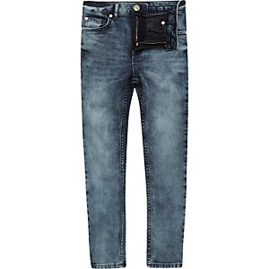 Boys mid blue wash Danny super skinny jeans