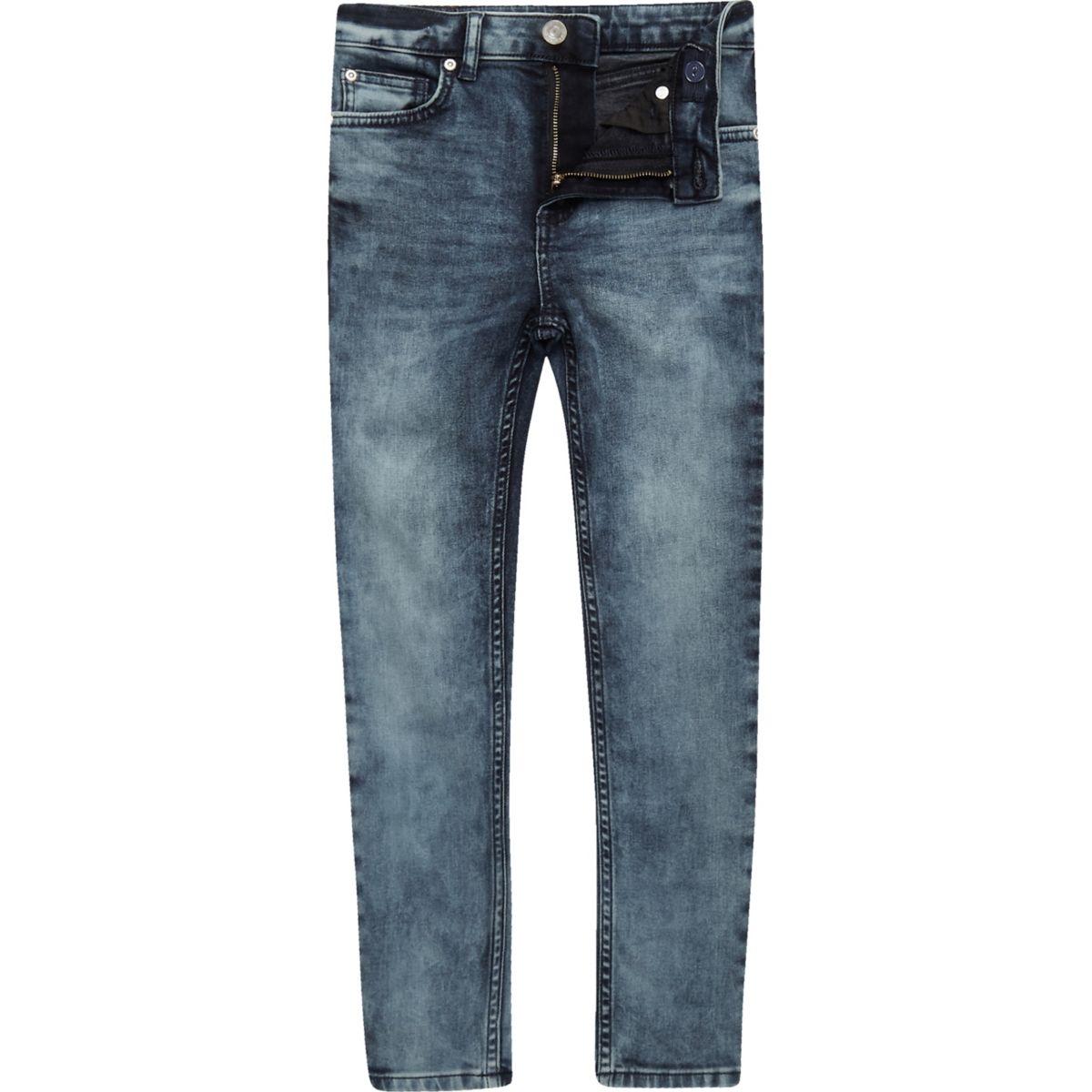 Boys mid blue wash Danny super skinny jeans