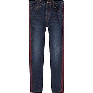 Danny – Blaue Super Skinny Jeans mit Seitenstreifen