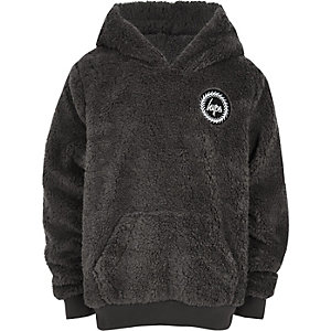 Hype boys grey faux fur hoodie