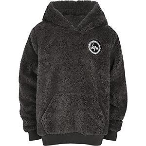 Hype - Grijze hoodie met imitatiebont voor jongens