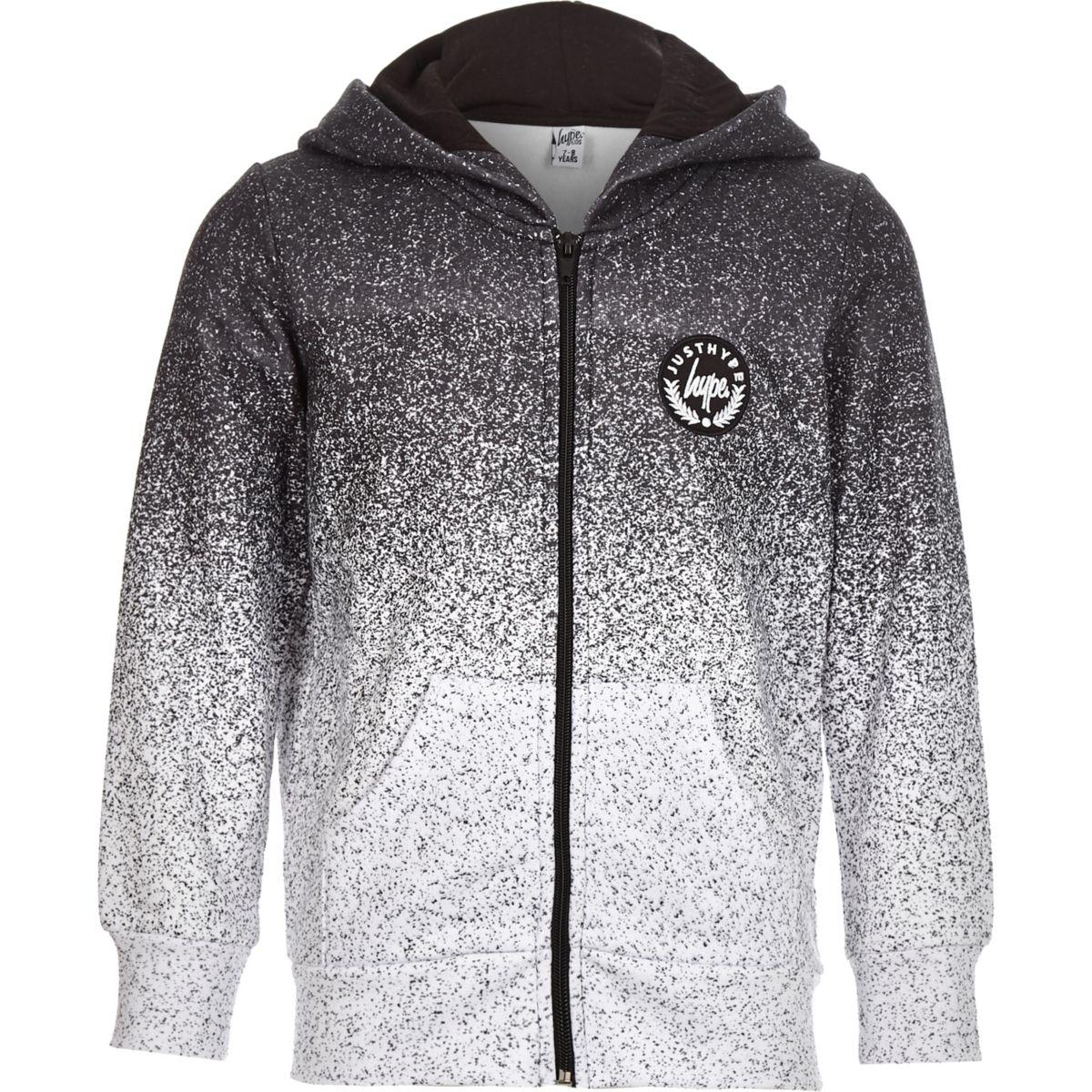 Boys Hype grey speckled zip front hoodie
