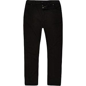 Tony - Zwarte smaltoelopende en ruimvallende jeans voor jongens