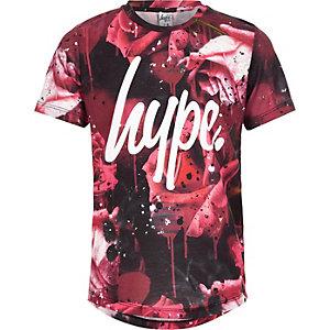 Hype - Rood T-shirt met rozen- en spetterprint voor jongens