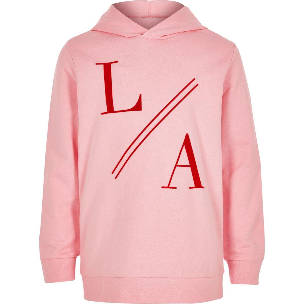 Boys pink 'LA' flock print hoodie