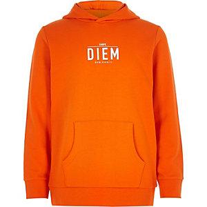 Oranje hoodie met 'carpe diem'-print voor jongens