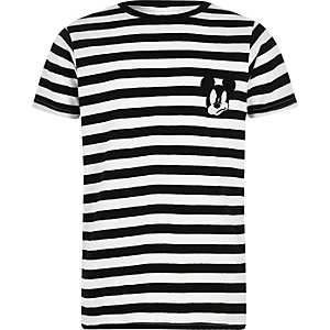 Boys black Mickey Mouse stripe T-shirt