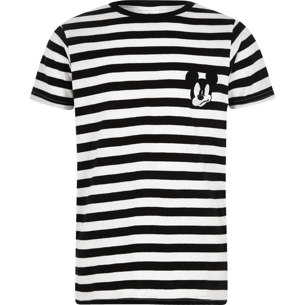 Boys black Mickey Mouse stripe T-shirt