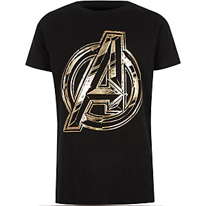 Boys black Avengers foil T-shirt