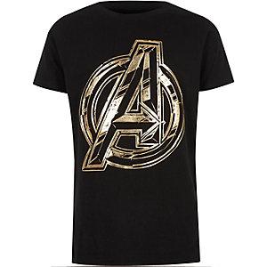 Zwart T-shirt met Avengers-folieprint voor jongens