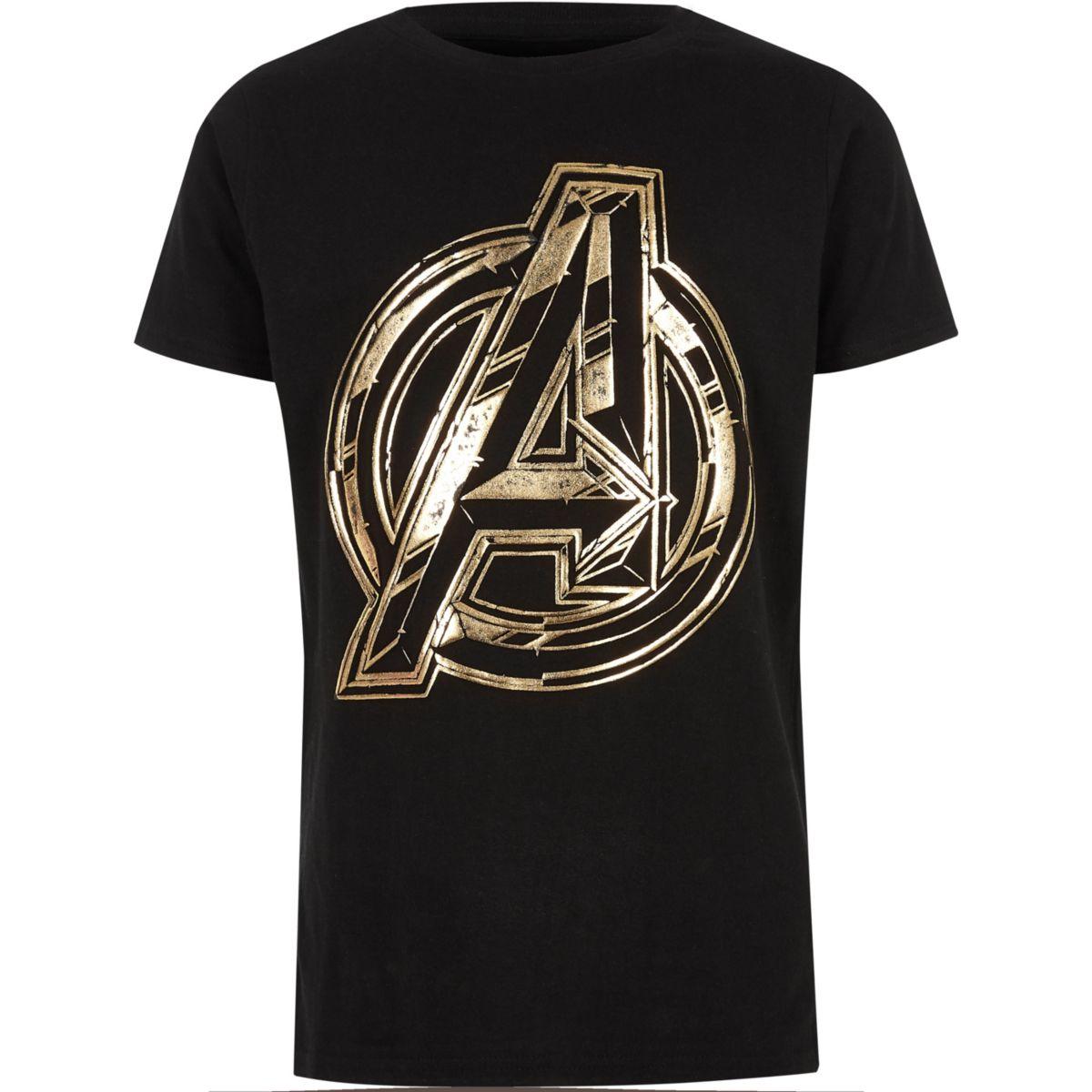 Boys black Avengers foil T-shirt