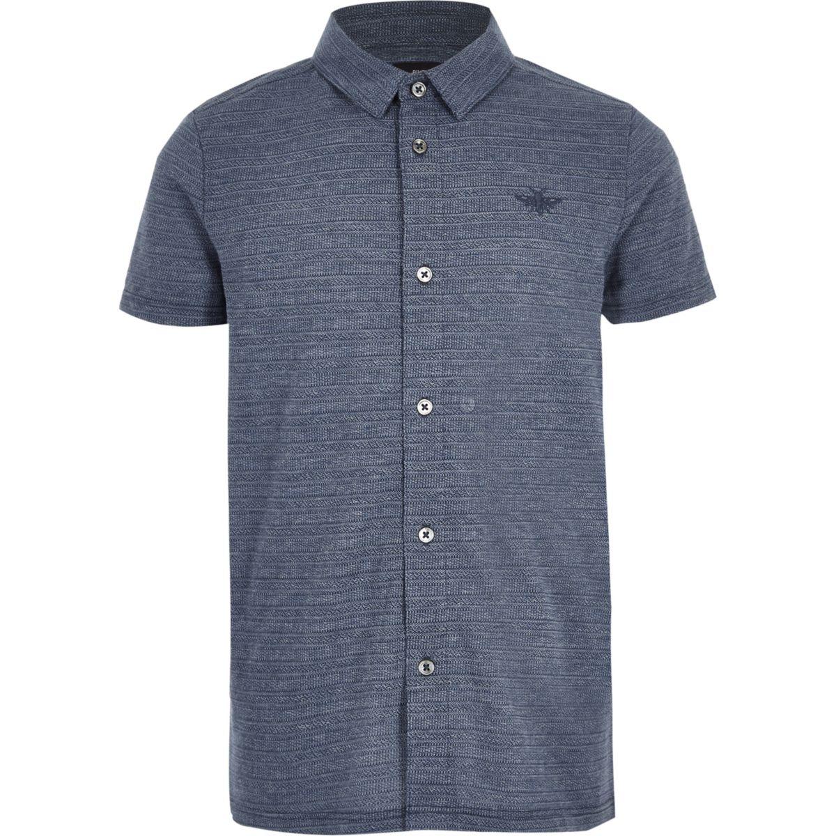 Boys blue pique textured button-up polo shirt