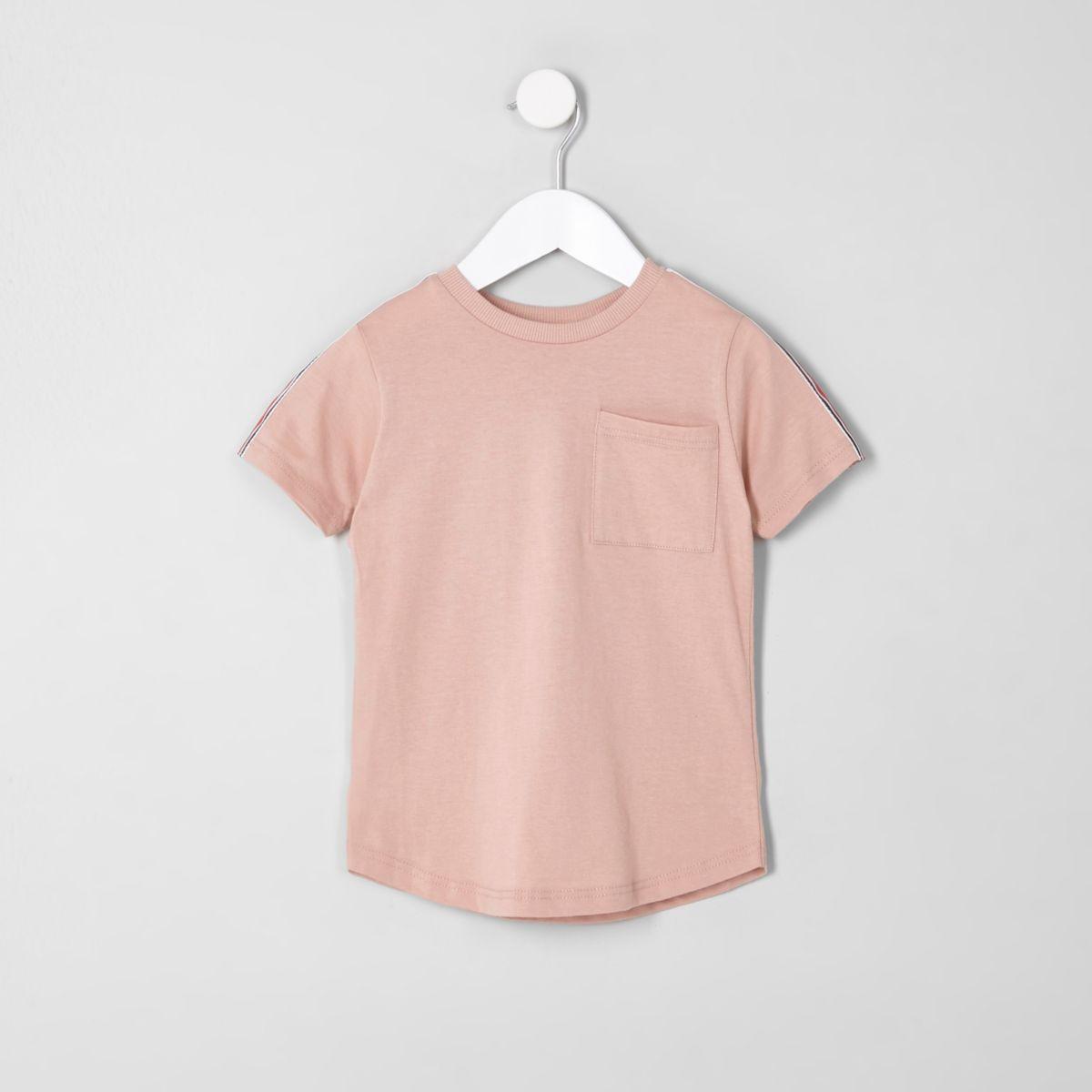 Mini boys pink tape sleeve pocket T-shirt