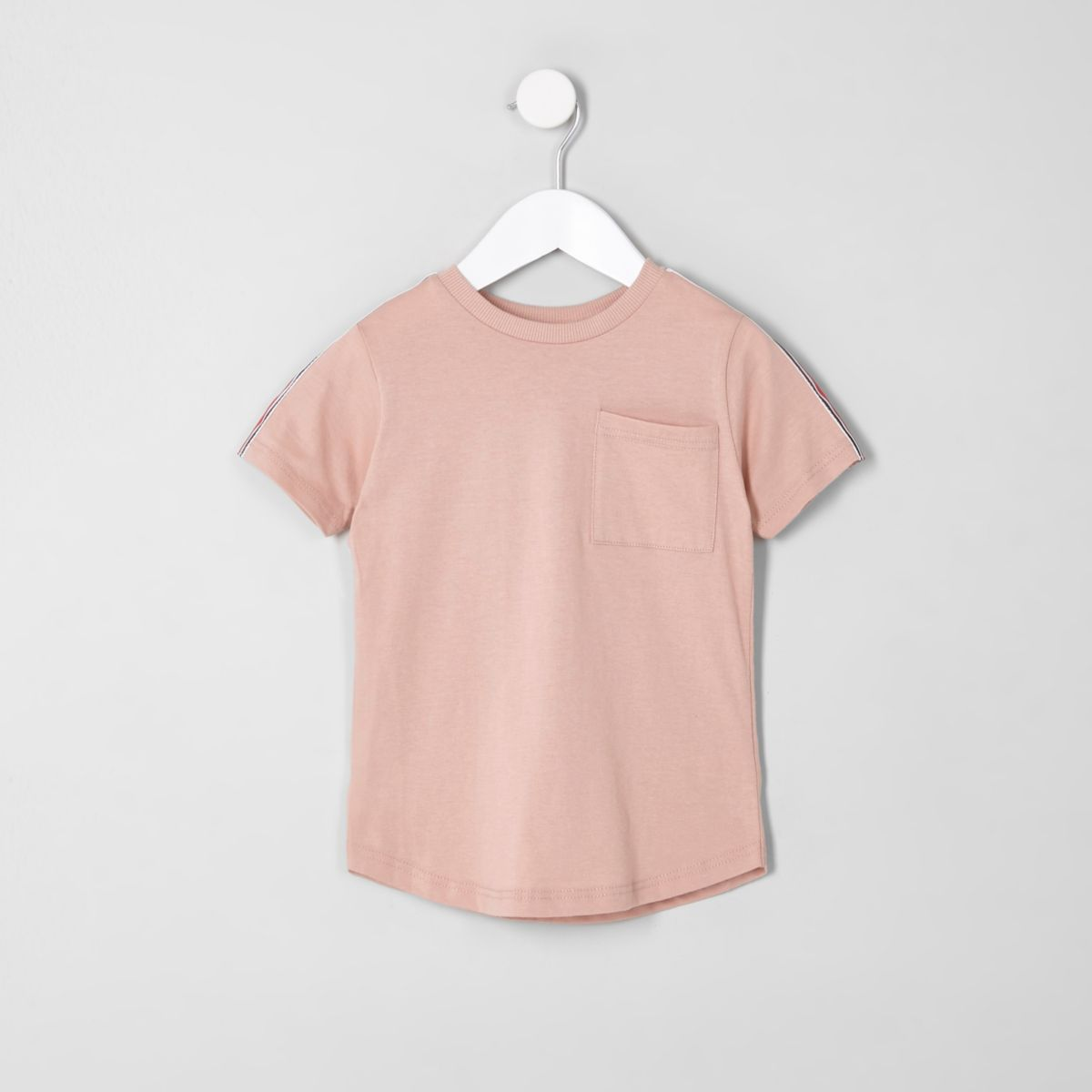 Mini boys pink tape sleeve pocket T-shirt