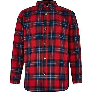 Chemise rouge à carreaux et manches longues pour garçon