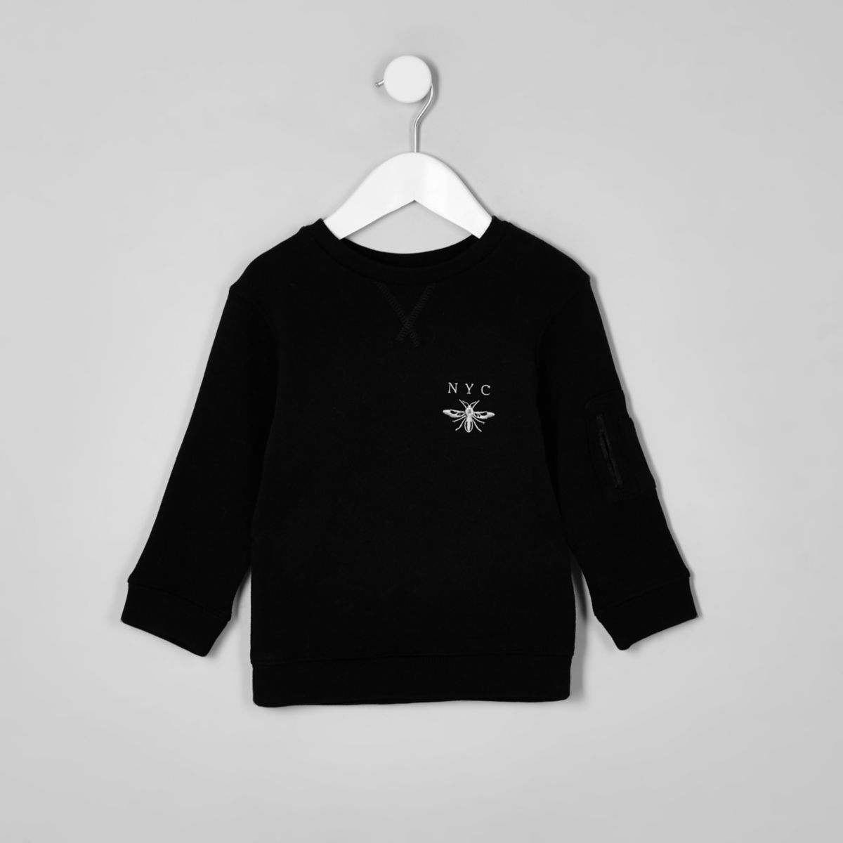 Mini boys black 'NYC' wasp sweatshirt