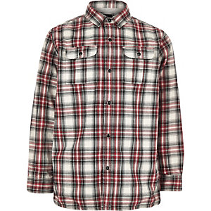 Boys red check jersey lined shacket