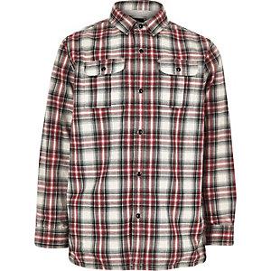Rood geruit shacket met jersey voering voor jongens