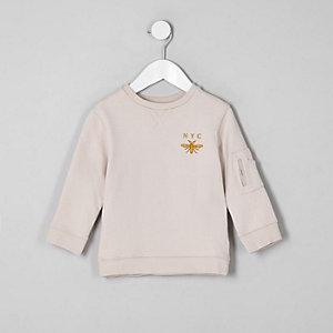"""Sweatshirt mit """"NYC""""-Wasp-Druck in Ecru"""