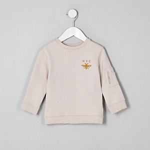 Mini boys ecru 'NYC' wasp sweatshirt