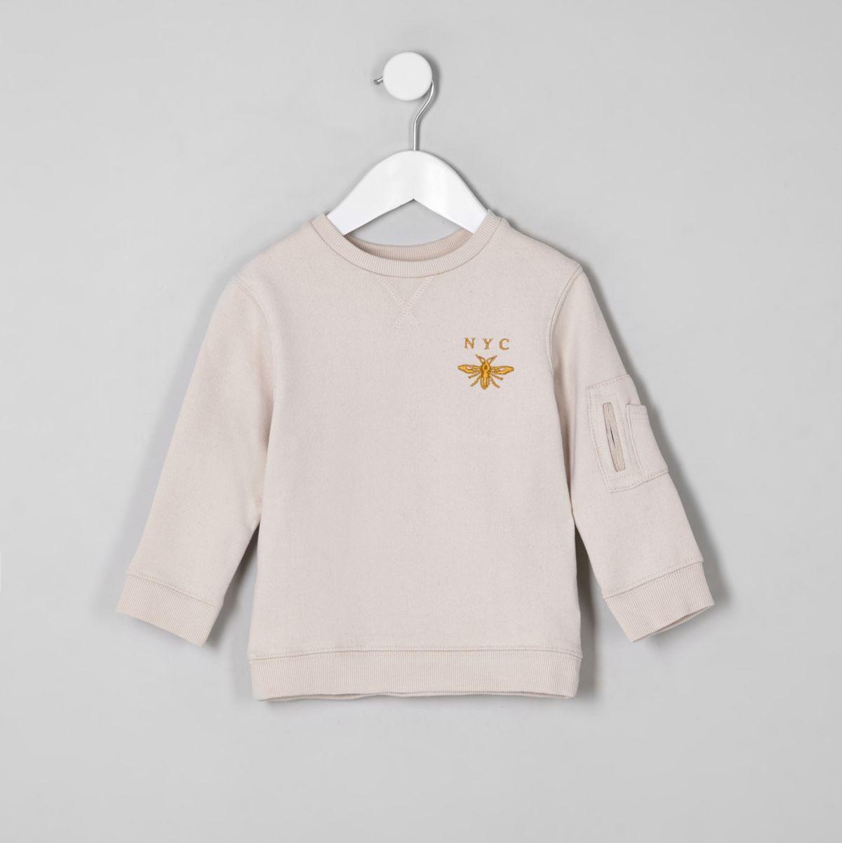 Mini boys ecru 'NYC' wasp sweatshirt