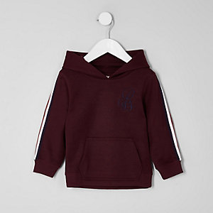 Mini boys dark red tape sleeve hoodie