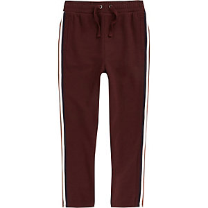 Boys burgundy tape tracksuit bottoms